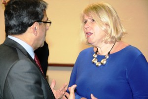 Minister Deb Matthews speaks with ITAC CEO Karna Gupta during the IYAC Ontario annual reception
