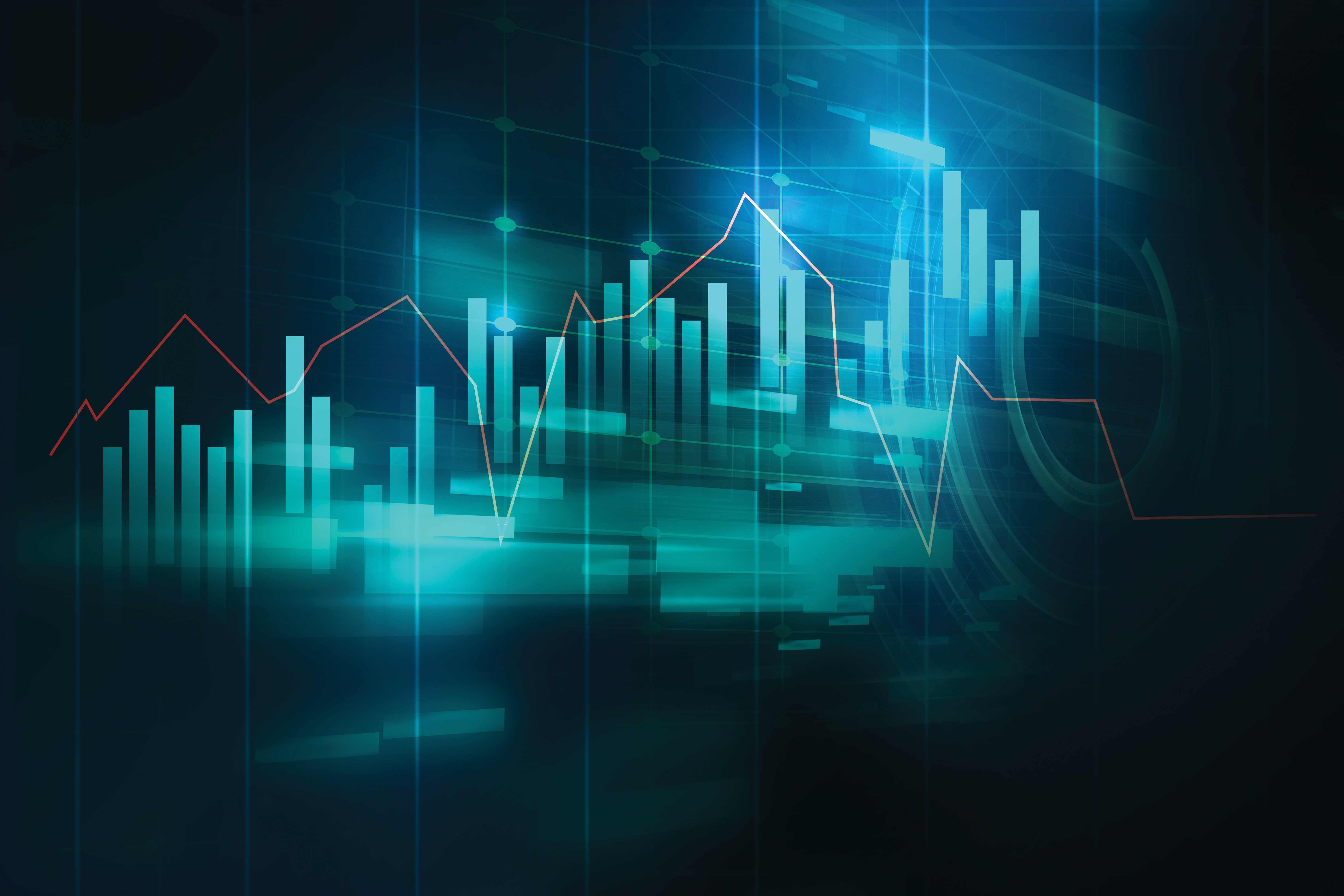 financial graph on technology abstract background information