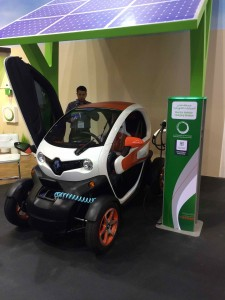 An electric car on display at GITEX, a large computer and electronics trade show and conference which takes place in Dubai, United Arab Emirates